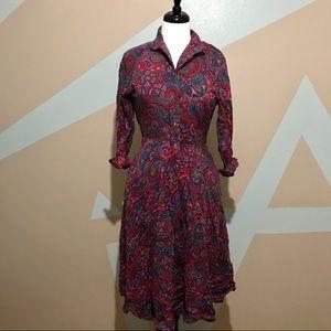 Vintage Liz Claiborne Paisley Maroon Dress Size 6P